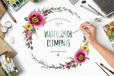 Watercolour flower.Create wreath