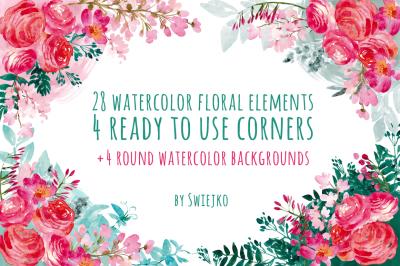 Watercolor flowers, floral corners