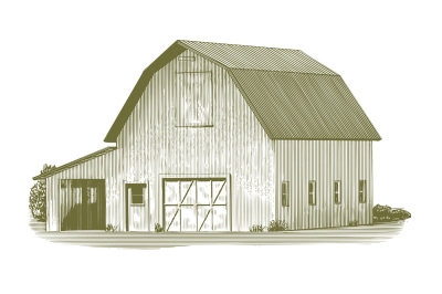 Engraved Cow Barn