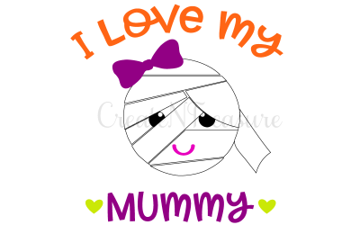 "Halloween Mummy, ""I love my Mummy"" svg, I love my Mummy svg. Cutting file for silhouette cameo and cricut. SVG, PNG, DXF"