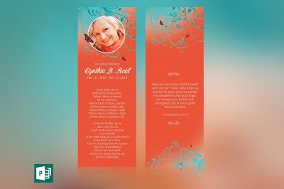 Ornament Funeral Bookmark Publisher Template