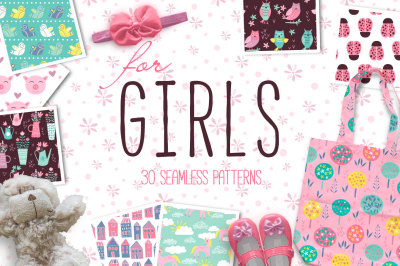 for GIRLS Seamless Patterns