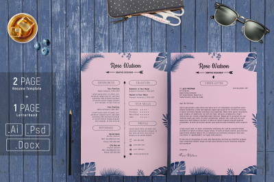 Jungle Blue-Pink Resume Template - CV / Letterhead /G