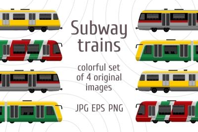 Modern high speed city subway trains