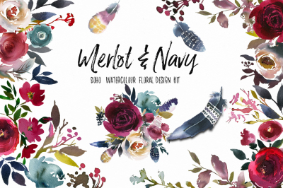 Merlot & Navy Watercolor Floral Design Kit