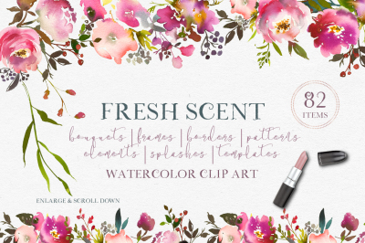 Fresh Scent - Pink Peach Watercolor Floral Design Kit