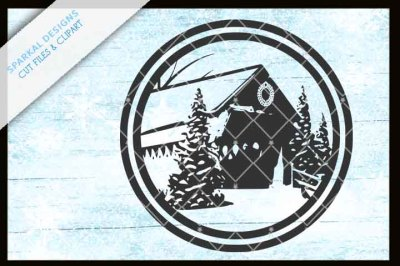 Covered Bridge Christmas Design - SVG.DXF.EPS.PNG