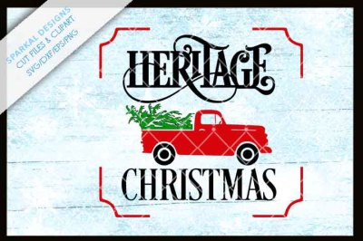 Country Heritage Christmas with Red Truck and Tree ~ cutting file