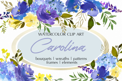 Carolina Royal Blue Watercolor Floral Clipart