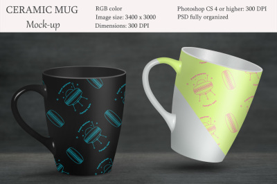 Ceramic mug mockup. Product mockup.