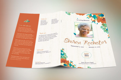 Autumn Floral Funeral Program Template,