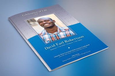 Blue Diamond Funeral Program Photoshop Template