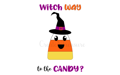Witch Way to the Candy? SVG design for cutting. Crafting design for Silhouette and Cricut. SVG, PNG, DXF.