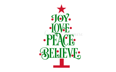 Christmas Tree svg, Christmas Tree Words svg. Cutting files for Silhouette or Cricut SVG, PNG, DXF