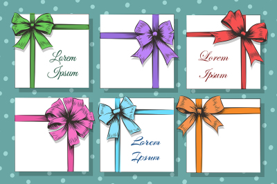 Gift cards with bow and ribbon set