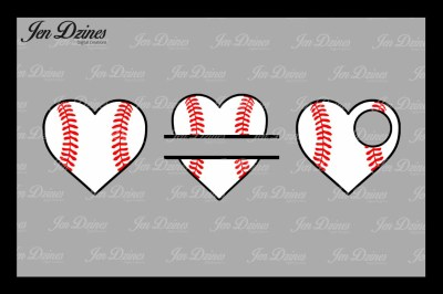 Baseball Hearts SVG DXF EPS PNG
