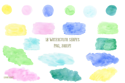 Watercolor Pastel Color Shapes