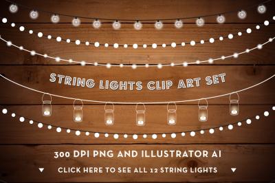 String Lights Clip Art Set - PNG, AI