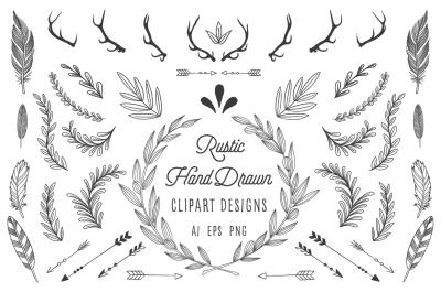 Rustic Wreath, Feather & Arrow Set