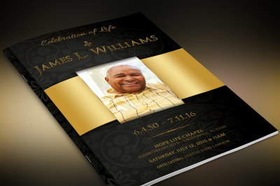 Black Gold Dignity Funeral Program Template