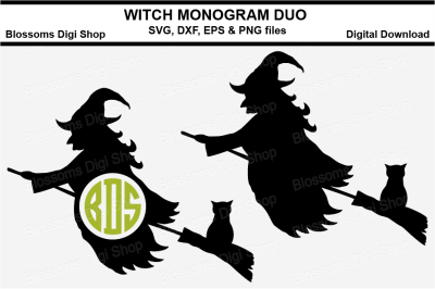 Witch monogram duo cut files, SVG, DXF, EPS and PNG files