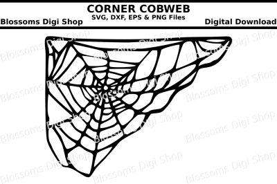 Corner cobweb cut file, SVG, DXF, EPS and PNG files
