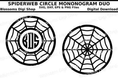 Spiderweb circle monogram duo cut files, SVG, DXF, EPS and PNG files