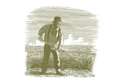Woodcut Wheat Farmer
