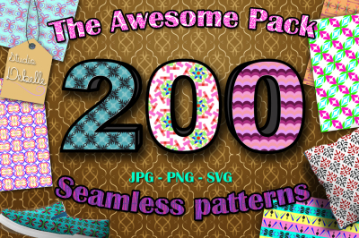 THE AWESOME PACK - 200 Seamless Patterns JPG, PNG e SVG