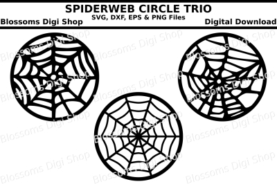 Spiderweb circle trio, SVG, DXF, EPS and PNG files