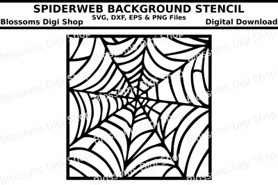 Spiderweb background stencil, SVG, DXF, EPS and PNG cut files