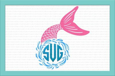Mermaid monogram svg, Mermaid svg, Fish tail monogram Cutting file