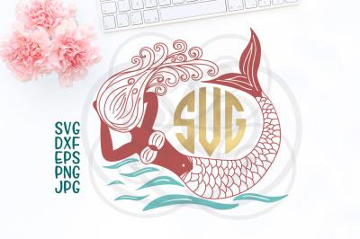 mermaid cricut file, hand drawn mermaid, ocean svg, swimming mermaid