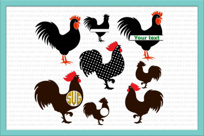 Rooster svg, Chicken SVG, Rooster monogram svg, SVG file, farming svg, farm svg, chicken, rooster, patterned rooster, svg,dxf png