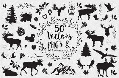 Moose Woodlands Vector & PNG