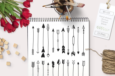 Hand Drawn Arrows graphics / clipart. Black graphic elements.
