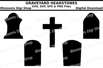 Graveyard headstones, SVG, DXF, EPS and PNG files
