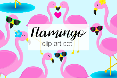 Flamingo Clipart Set
