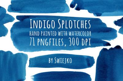 Watercolor Indigo Splotches