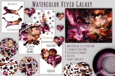Watercolor Vivid Galaxy