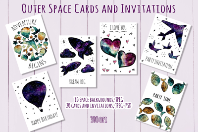 Outer Space Cards and Invitations