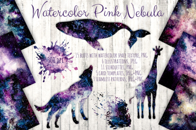 Watercolor Pink Nebula Collection