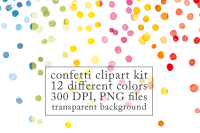 Confetti clipart kit, 12 colors