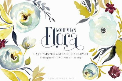 Bohemian Floral - Watercolor Clipart