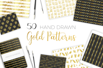 50 Hand Drawn Gold Patterns