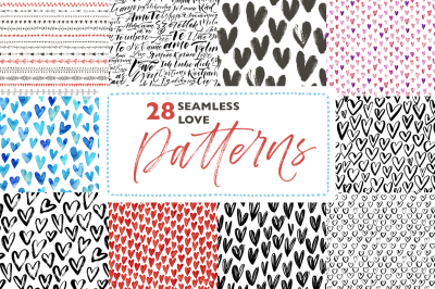 28 seamless love patterns.