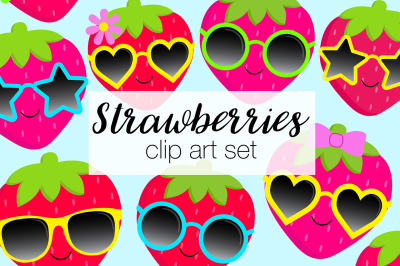 Summer Strawberry Clipart Set