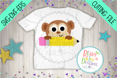 Monkey and Pencil school SVG DXF EPS - cutting file