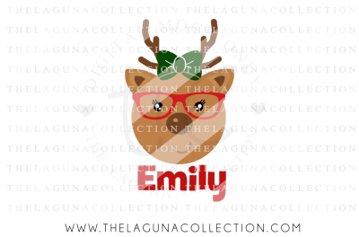 Girl Reindeer, Personalized, Christmas SVG, Reindeer SVG, Holiday SVG