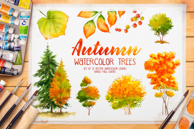 Autumn watercolor trees
